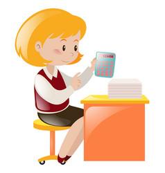 Accountant working on desk vector