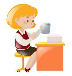 Accountant working on the desk vector