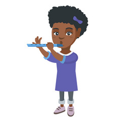 African-american little girl playing the flute vector