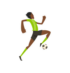 african american soccer player running and kicking vector image