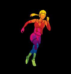 Athlete runner a woman runner running vector