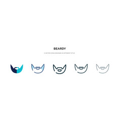 Beardy icon in different style two colored vector