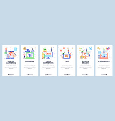 blogger website and mobile app onboarding screens vector image