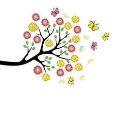 Branch of tree with flowres and butterflies vector