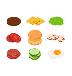 burger isometric constructor of burger with vector image