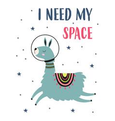 card llama and space vector image