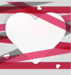 Card template with paper heart and pink ribbons vector
