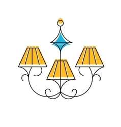 Chandelier line icon hanging vector
