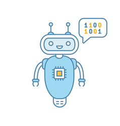 chatbot coding color icon vector image