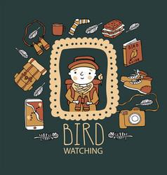 Children bird watching birding and ornithology vector
