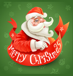 christmas card with santa claus on green vector image
