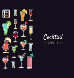 Cocktail menu banner template alcoholic beverages vector