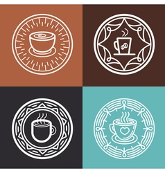 coffee mug on round emblem vector image