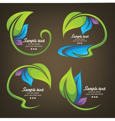 Collection of colorful leaf frames vector