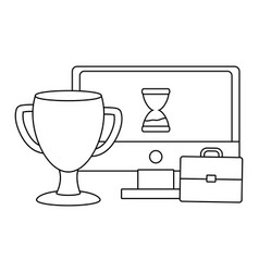 computer with hourglass and trophy with briefcase vector image