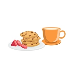 Cookies And Milk Breakfast Food Drink Set vector
