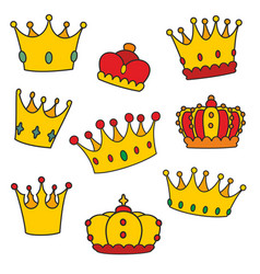 Crown set isolated on white background vector