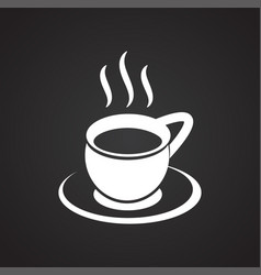 Cup with hot tea on black background vector