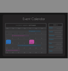 dark calendar template for website and app vector image