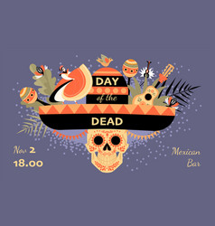 day dead invitation banner vector image