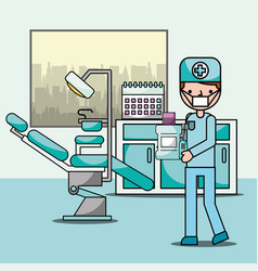 dentist boy in office chair and equipment vector image