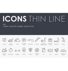 Diet Thin Line Icons vector
