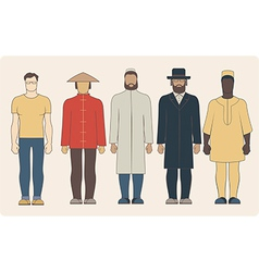 Different nationalities men vector image