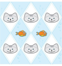 Dimond pattern with gold fish and cat vector