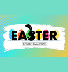 easter egg hunt holiday banner with eggs vector image