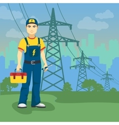 Electrician man near high-voltage power lines vector