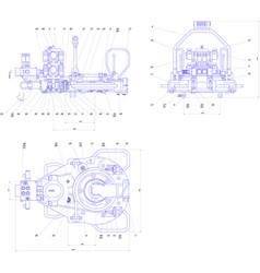 engineering drawing of industrial equipment vector image