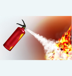 extinguishing flame with fire extinguisher vector image