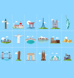 Famous architectural landmarks set popular travel vector