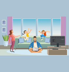 father working at home cartoon concept vector image