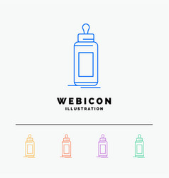 feeder bottle child baby milk 5 color line web vector image