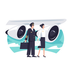 flat man and woman aircrew in background aircraft vector image