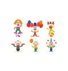 Flat set of funny clowns in actions vector