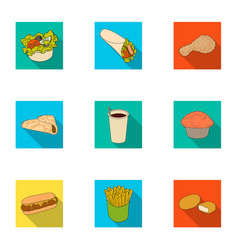 food fast cafe and other web icon in flat style vector image