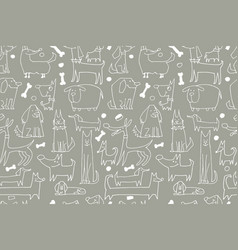 Funny dogs collection seamless pattern for your vector