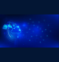 Futuristic technology cloud and iot on dark blue vector