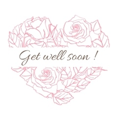 Get well soon Friendly vintage card with vector image