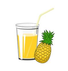 glass of pineapple juice vector image