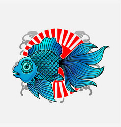 goldfish japanese tattoo vector image