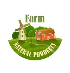 Green label of healthy natural farm fresh food vector