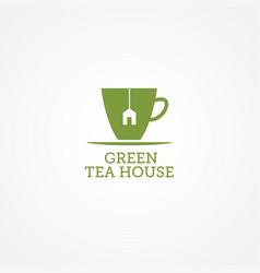 green tea house logo sign symbol icon vector image
