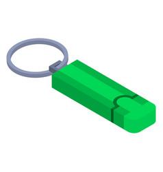 green usb flash icon isometric style vector image