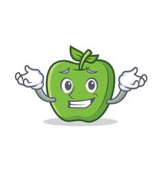 Grinning green apple character cartoon vector