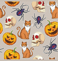 halloween seamless pattern with cat spider vector image