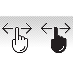 Hand finger swiping or swipe left and right vector
