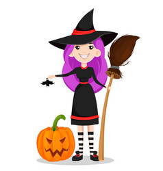 happy halloween cute young witch vector image